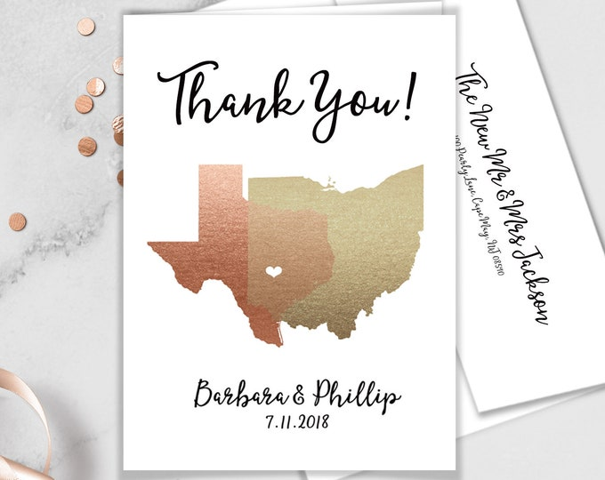 Map Thank You Card / Custom Wedding Thank You Card / States Map / Faux Metallic Rose Gold Map ▷ Printed Thank You {or} Printable