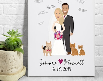 Wedding Guest Book Alternative, Wedding Portrait from Photo, Guestbook Alternative Canvas Print