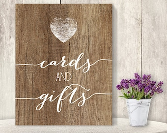 Cards And Gifts / Wedding Gift Table Sign DIY, Presents/ Rustic Wood Sign, White Calligraphy Printable PDF, Rustic Poster ▷ Instant Download