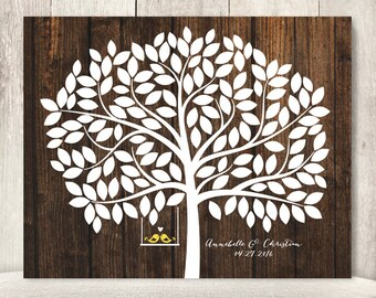 "Wedding Guest Book Alternative Poster / Guest Tree on Dark Wood, Love Birds / ""Leaving Wishes"" 150 ▷ Printable File {or} Printed & Shipped"