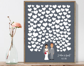 Wedding Guest Book Alternative Poster DIY  / Personalized Couple Illustration / Hearts on Gray / Custom Illustration ▷ Printable PDF