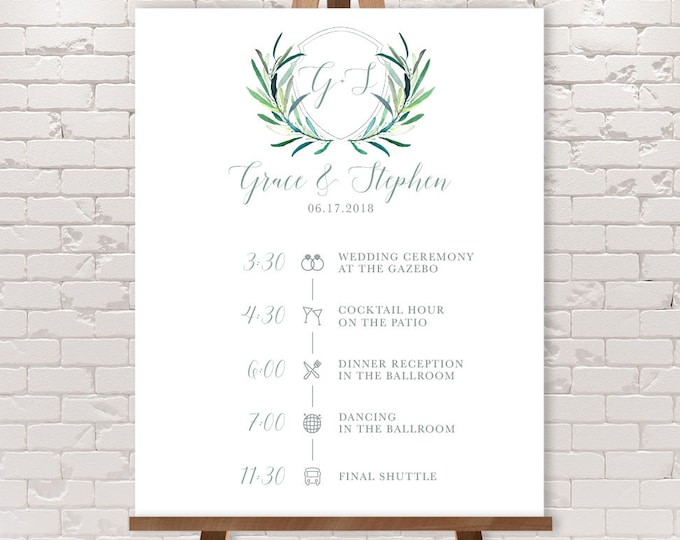 Wedding Timeline Sign / Wedding Itinerary Agenda, Icons / Eucalyptus Crest / Initial Monogram Crest ▷ Printable File {or} Printed & Shipped