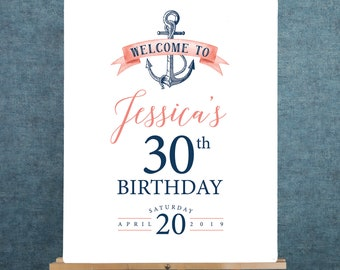 Nautical Birthday Party Welcome Sign, Coral Navy Blue Thirtieth Birthday Canvas Print > PRINTED Sign for Birthday {or} Printable Sign