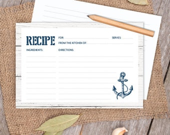 Nautical Bridal Shower Recipe Card / Nautical Card, Navy Anchor 4x6 Recipe Card DIY / Kitchen Shower PDF / Nautical Planks ▷Instant Download
