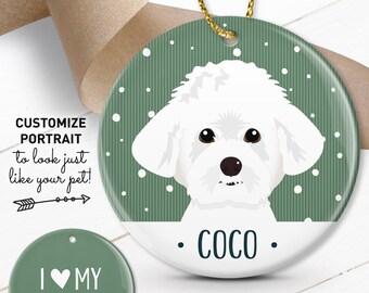 Maltese Ornament, Custom Pet Christmas Ornament, Personalized Pet Portrait Illustration, Unique Gift for Pet Lover, Maltese Gift