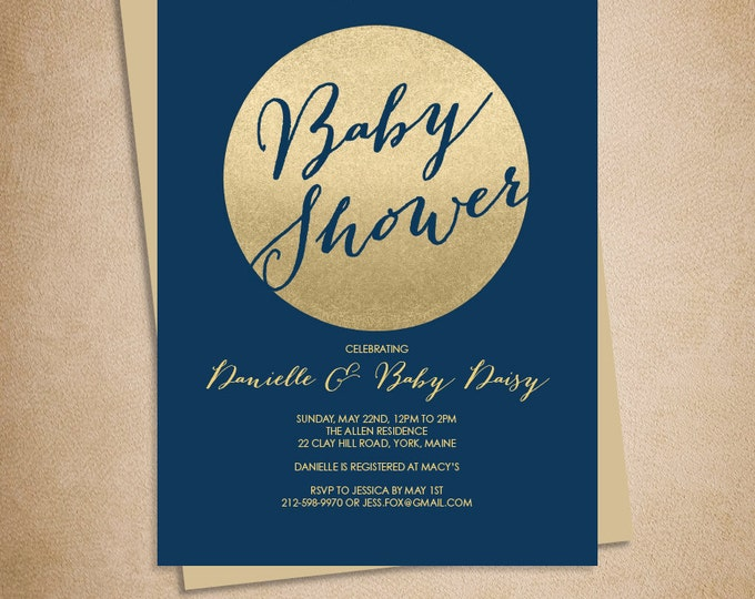 Gold Sparkle Baby Shower Invitation DIY // Metallic Gold Glitter Circle on Navy Blue PDF // Gold And Navy ▷ Baby Shower Invite Printable