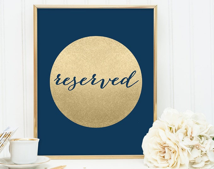 Reserved Sign / Wedding Seating / Navy and Gold Wedding Sign DIY / Metallic Gold Sparkle Circle / Champagne Gold ▷ Instant Download JPEG