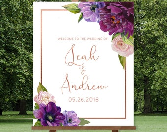 Purple Wedding Welcome Sign / Purple Flowers, Anemone, Peony, Ranunculus, Rose Gold / Fall Wedding ▷ Printed Paper, Canvas {or} Printable