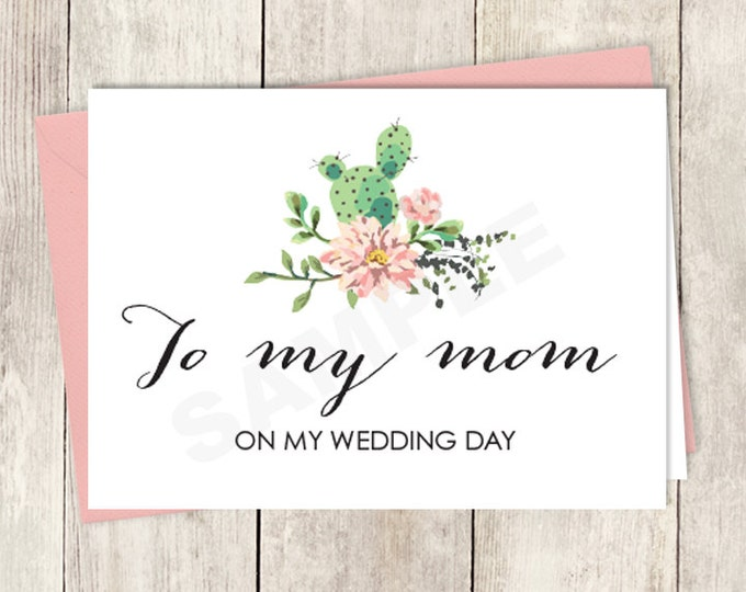 Rustic To My Mom Card DIY Printable / On My Wedding Day Note Card / Cactus Succulent, Coral Flower Wreath Fiesta ▷ Instant Download