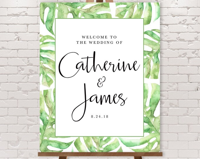 Palm Wedding Welcome Sign / Green Palm Leaf / Beach Wedding / Greenery / Watercolor Palm Leaves ▷ Printable File {or} Printed & Shipped