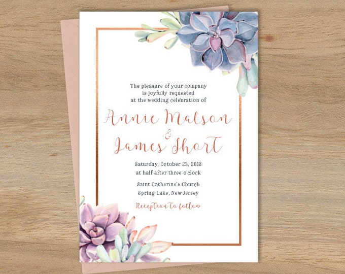Succulent Wedding Invitation / Greenery and Rose Gold Geometric / Cactus and Copper Calligraphy ▷ Printed Wedding Invitations {or} Printable