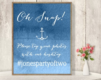 Wedding Hashtag Sign / Instagram Sign / Social Media Photo / Nautical Ombre Sapphire Blue Watercolor ▷ Printable File {or} Printed & Shipped