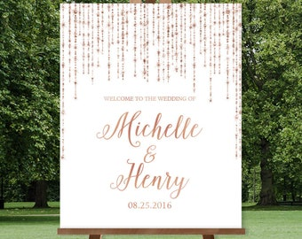 Rose Gold Wedding Welcome Sign / Great Gatsby Inspired Bokeh String Light Sparkle / White and Copper ▷ Printed Paper, Canvas {or} Printable
