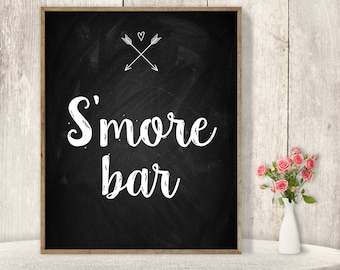 S'more Bar // Rustic Wedding Dessert Sign DIY // Rustic Chalkboard Poster, Whimsical Arrow, Heart, Chalk Lettering ▷ Instant Download