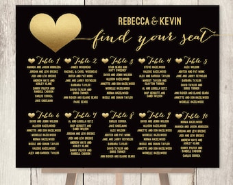 Elegant Wedding Seating Chart DIY / Art Deco Poster / Gold and Black / Faux Metallic Gold Foil ▷ Personalized and emailed printable file