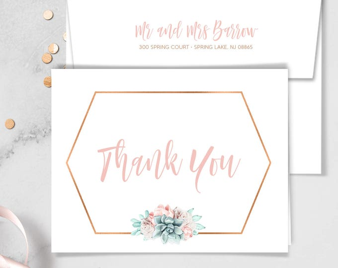 Succulent Thank You Card / Blush Flower Succulent Bouquet Faux Metallic Copper Watercolor Cactus ▷ Printed Thank You {or} Printable
