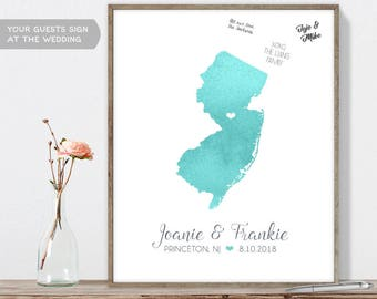 Wedding Guest Book Alternative / New Jersey Map Illustration / Aqua Watercolor Map Guestbook Sign In ▷Canvas, Paper, Board {or} Printable