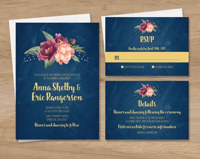Rustic Wedding Invitation Set / Peonies and Berries, Blush Ranunculus, Navy Chalkboard Invite Set ▷ Printed Wedding Invitations or Printable