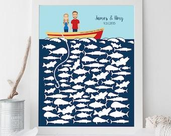 Nautical Guest Book Alternative Poster DIY / Nautical, Ocean Fishing, Custom Portrait, Personalized Couple on Boat, Fish▷ Printable PDF
