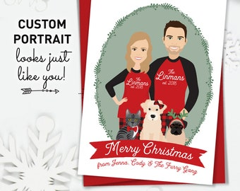 Christmas Card for Pet Parents, Unique Christmas Cards with Custom Family Portrait and Pet Portrait in Matching Christmas PJs
