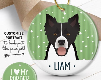 Border Collie Ornament, Custom Pet Christmas Ornament with Dog Portrait, Personalized Gift for Dog Parents, Collie Gift