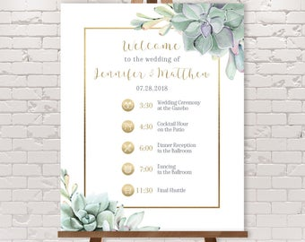 Wedding Timeline Sign / Wedding Itinerary Agenda with Icons / Cactus Greenery and Gold Geometric ▷ Printable File {or} Printed & Shipped