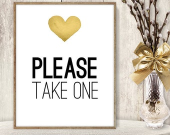 Please Take One Sign // Wedding Sign DIY // Gold Heart, Watercolor Heart Sign, Printable PDF Poster ▷ Instant Download
