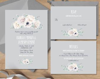 White flowers Wedding Invitation Set / White Rose, Anemone, Peony, Boho Greenery, Ivory Flower Gray ▷ Printed Invitations {or} Printable