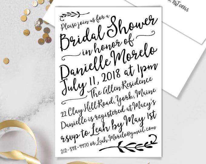 Boho Calligraphy Bridal Shower Invitation / Modern Romantic Invite / Neutral Black & White Monochromatic ▷Printed Invitations {or} Printable
