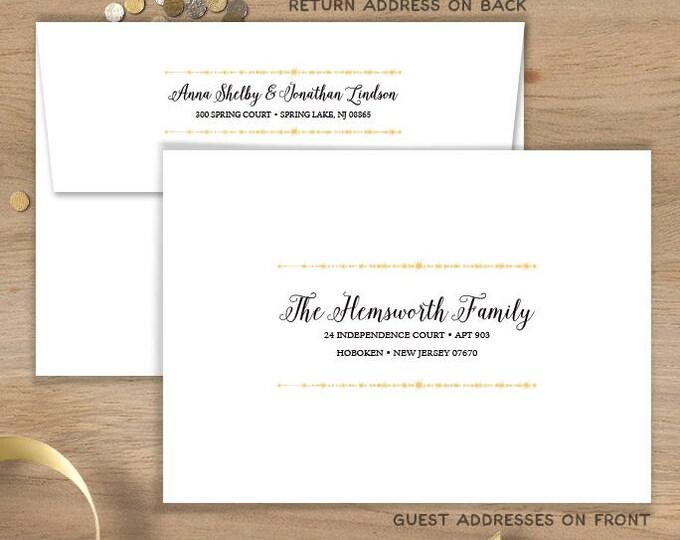 Elegant Envelopes with Guest & Return Address Printing / Great Gatsby Inspired Bokeh String Light Sparkle ▷ INVITE {or} RSVP Envelopes