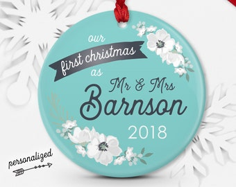 First Married Christmas Ornament, Personalized Newlywed Ornament, Mr and Mrs, Wedding Gift for Couple, Aqua Blue and Gray