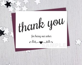 For Being Our Usher // Wedding Thank You Card DIY // Elegant Black Lettering Printable PDF // Classic Elegance ▷ Instant Download