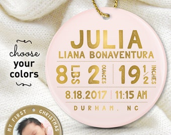 Blush and Gold Ornament, Baby Birth Stats, Baby's First Christmas, New Mom Gift Idea, Personalized Christmas Gift