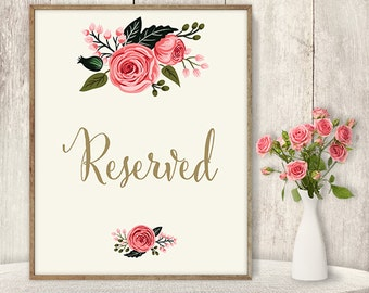 Reserved Sign / Wedding Reserved Seating Sign DIY / Watercolor Flower Poster Printable / Gold Calligraphy, Pink Rose ▷Instant Download