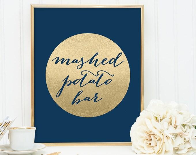 Mashed Potato Bar Sign DIY / Food Label / Navy and Gold Wedding Sign / Metallic Gold Sparkle Circle / Champagne Gold ▷ Instant Download JPEG