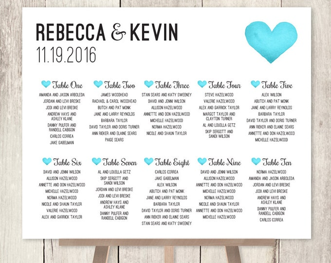 Wedding Seating Chart Sign / Turquoise Blue Whimsical Watercolor Heart / Custom Seating Sign ▷ Printable File {or} Printed & Shipped