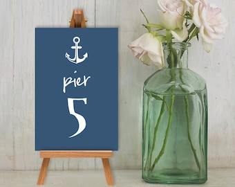 Wedding Reception Table Number DIY // Nautical Anchor on Navy Guest Seating Sign Printable PDF // Numbers 1 to 20 ▷ Instant Download