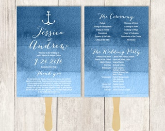 Nautical Wedding Program DIY / Heart Anchor / Calligraphy, Navy Watercolor  / Bridal Schedule ▷ Printable {or} Printed *** ASSEMBLY REQUIRED