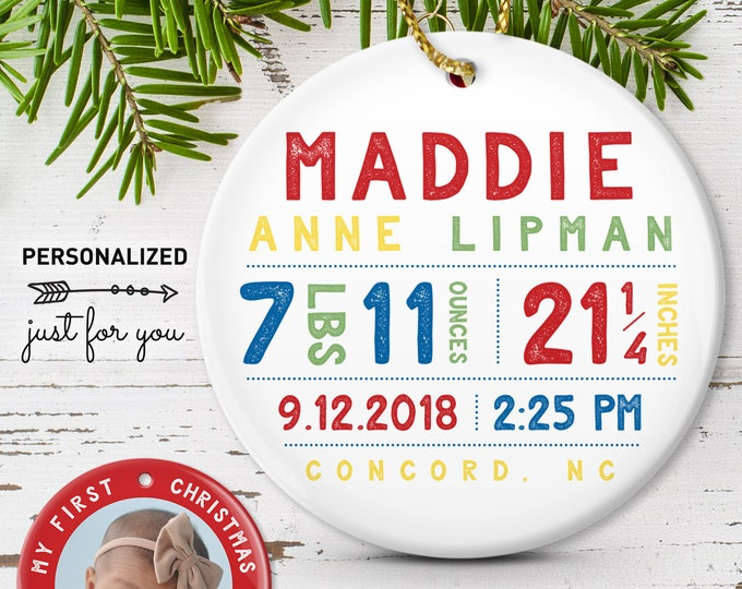Baby Birth Stats Ornament, My First Christmas, Godmother Gift Idea, Personalized Christmas Gift, Bright Primary Colors
