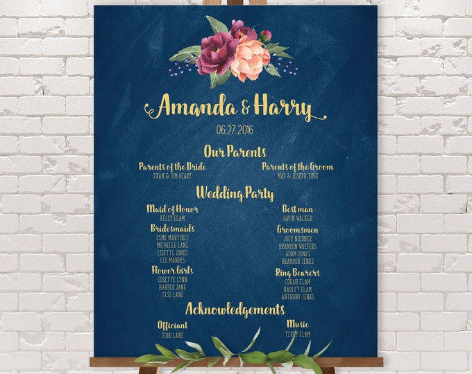 Marsala Wedding Party Sign / Peonies, Berries, Navy Chalkboard, Blush Ranunculus, Gold and Navy ▷ Printable File {or} Printed & Shipped