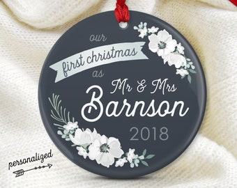 Wedding Ornament, First Christmas as Mr and Mrs, Personalized Christmas Ornament, Wedding Gift for Couple, Charcoal Gray and White Flowers