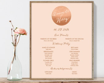 Rose Gold Wedding Welcome Sign DIY / Wedding Party Sign, Bridal Party / Metallic Copper, Coral ▷ Printable File {or} Printed & Shipped