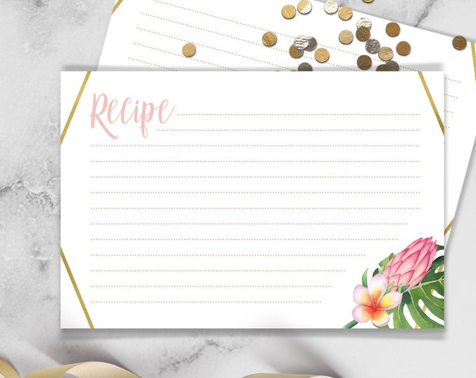Tropical Recipe Card / Tropical Leaves, Tropical Flowers, Destination Wedding, Green Palm Leaf, Gold and Blush / Printed Recipe Cards