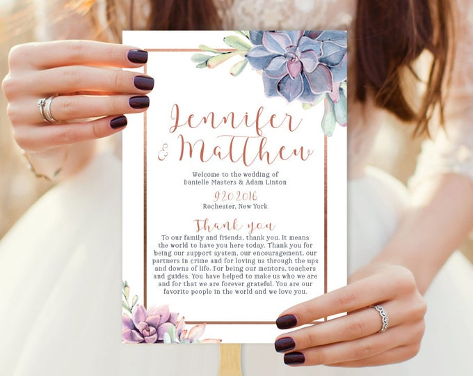 Succulent Wedding Program Fan / Greenery and Rose Gold Geometric / Cactus and Copper Schedule ▷ Printable {or} Printed *** ASSEMBLY REQUIRED
