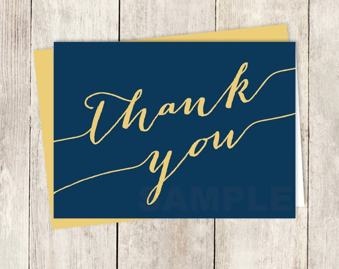 Formal Thank You Card DIY / Trendy Calligraphy Card / Gold And Navy / Wedding Thank You Printable PDF ▷ Instant Download