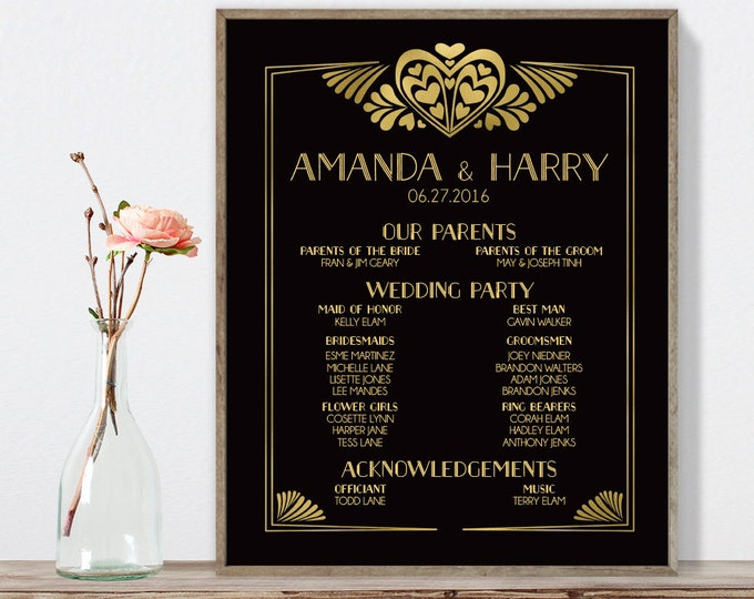 Great Gatsby Wedding Welcome Sign / Bridal Party Sign / Art Deco, Roaring Twenties / Black and Gold ▷ Printable File {or} Printed & Shipped