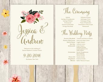 Wedding Program Fan Printable / Wedding Fan / Watercolor Flower, Gold, Pink Rose, Cream ▷ Printable {or} Printed *** ASSEMBLY REQUIRED