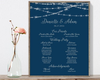 Elegant Wedding Welcome Sign / Wedding Party, Bridal Party / Bokeh String Light / Navy and Silver ▷ Printable File {or} Printed & Shipped
