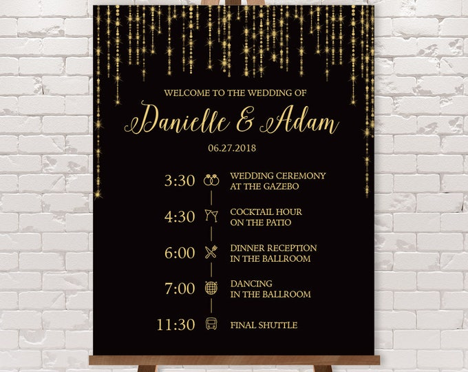Gatsby Wedding Timeline Sign / Wedding Itinerary Agenda, Icons / Great Gatsby Bokeh String, Black,Gold▷Printable File {or} Printed & Shipped