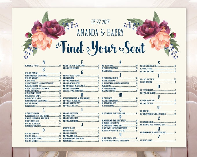 Wedding Seating Chart, Alphabetical Seating / Burgundy Peony Berry Bouquet, Blush Pink Ranunculus ▷ Printable File {or} Printed & Shipped